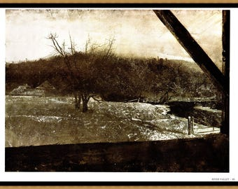 "Andrew Wyeth painted River Valley in 1966. The page is approx. 16 1/2 inches wide and 13 inches tall. the image is 15"" X 11"""