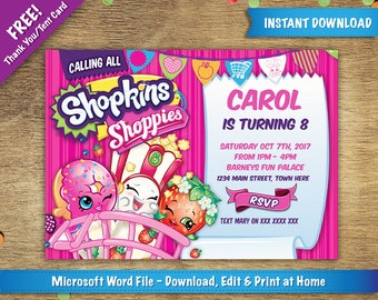 DIY Printable 5x7 Shopkins Birthday Party Invitation Template | FREE Thank You / Tent Card Included  | Instant Download - Microsoft Word
