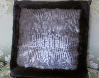 Leather and mink fur pillow