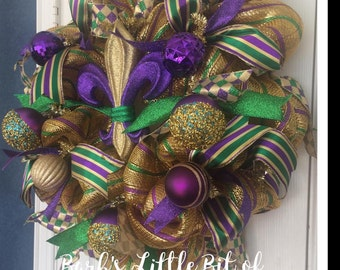 READY TO SHIP, Mardi Gras Wreath, Fleur De Lis, Exquisite Mardi Gras Wreath, Mesh Wreath, Ribbon, Mardi Gras Wreath, Fat Tuesday