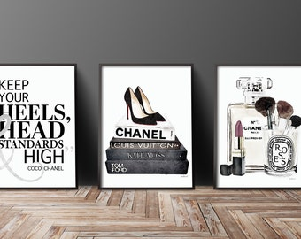Set of 3 24x36 fashion posters silver effect black and white Perfume, quote, makeup lipstick standards high decor fashion illustration black