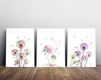 Dandelions watercolor prints set of 3 posters three vertical dandelions flowers 3 dandelions dandelions wall art set art gift [42]
