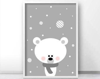 Polar Bear Christmas Print, Printable Christmas Decor, Instant Download Christmas Art, Holiday Print, Christmas Printables, Digital Print