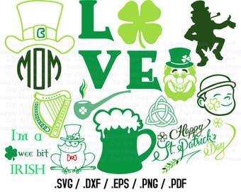 Saint Patrick's Day SVG Clipart, Irish Clover SVG, Holiday File, Vinyl Cutter, Screen Printing, Silhouette, Vinyl Cutting Clipart - CA422