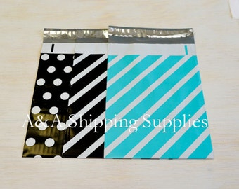 "Choose the Design and Quantity, 7.5""x10.5"" Poly Envelopes, Teal Stripes bags, Black Bags,Quality Bags, Flat Poly Mailing Shipping Bags"
