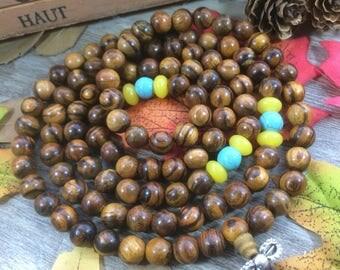 8mm Natural Vietnam Vine Wood Natural Rosewood Wooden Beads DIY Spacer Charms Meditation Buddhist Japa Mala Necklace