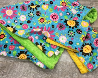 Baby Girl Blanket, Flowers Minky Baby Blanket, Two Piece Set, Baby Shower Gift Set, Floral Baby Blanket Set