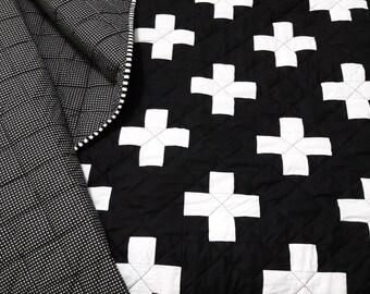 Plus Quilt / Swiss Crosses Quilt / Black & White Quilt / Modern Minimalist Quilt / Toddler Quilt / Throw Quilt / Twin Quilt