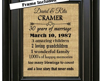 FRAMED Personalized 30th Wedding Anniversary Print 30th Anniversary Gifts 30th Anniversary Gift 30 years of Marriage Gift for parents