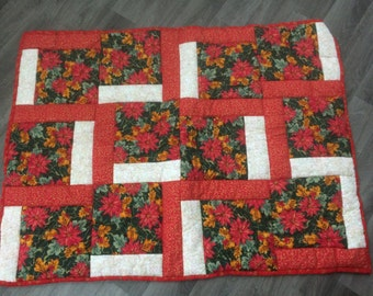 Handmade Christmas Patchworked Red Poinsettia Quilted Quilt/Throw