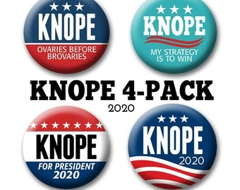 "4-Pack Leslie KNOPE Buttons Badges - 2.25"" Circle - Funny Parody for President -- 2020 Election political humor"