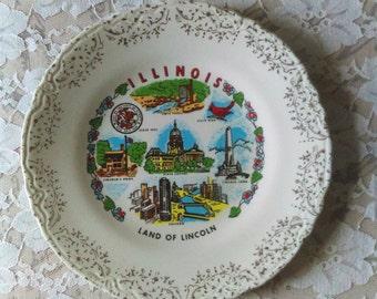 Vintage State Souvenir Plate: Illinois, Collectible, Memorabilia, Gallery Wall, Kitsch