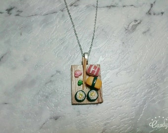 Sushi platter silver chain necklace. Sashami sushi realistic food miniature gift necklace fashion charm necklace.