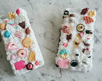 SALE!!!!! 50% OFF!!! IPhone 6 Decoden handmade cream phone case. Cabochon kawaii cute iPhone white case