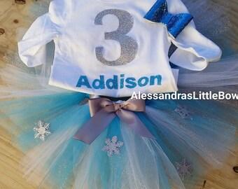 Frozen birthday tutu outfit frozen cake smash outfit Disney's frozen tutu Queen Elsa first birthday outfit personalized frozen outfit