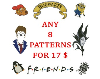 Any eight Cross Stitch Patterns PDF for 17 Dollars. Sale Special Offer, Digital Download, Embroidery designs.