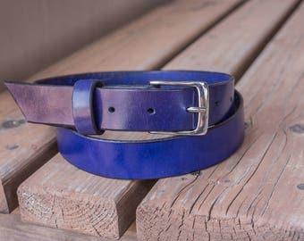 Purple-Indigo Leather Belt | Made in the USA | Leather Fashion Belt