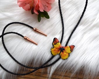 Yellow and Orange Butterfly Bolo Tie