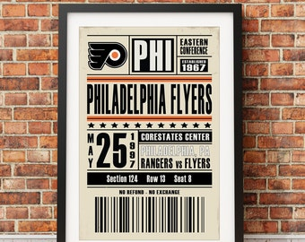 Philadelphia Flyers Retro Ticket Print
