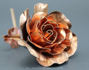 Copper Rose, Metal Flower, Anniversary Gift, Beauty and the Beast Rose, Gift for Her, Metal Sculpture, Wedding Gift, Forever Rose, Valentine