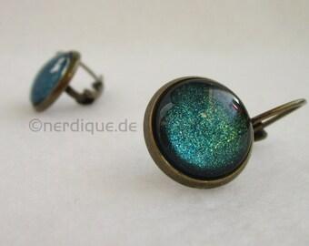 Cabochon pendant earrings turquoise metallic
