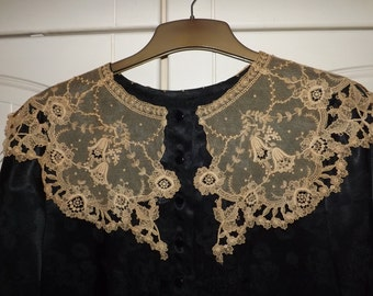 VINTAGE LACE, Vintage Lace Collar.  Now Hand Stitched onto Black Blouse UK Size 12-14.  Superb Condition for its Age. Possibly Victorian.
