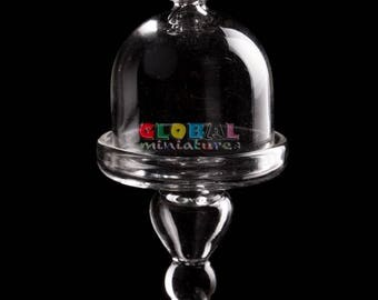 Dollhouse Miniatures Art Glass Bell-Shaped Cake Pie Bakery Cover + Stand