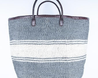 Grey and Natural Stripe Handwoven Laundry Basket