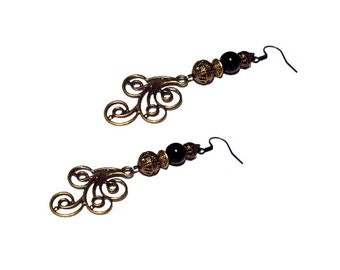 Vintage black and bronze earrings