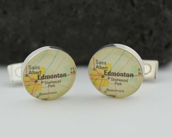 Unique Wedding Gifts Edmonton : Edmonton Map Cuff links. Personalized Cufflinks with a map of your ...