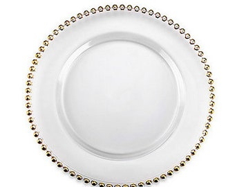 Gold Beaded Charger Plates (Please Read Product Details)