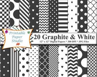 Graphite Grey Digital Paper Pack, Dark Gray Patterned Paper for Card Making, Grey Digital Scrapbook Paper 12x12 Instant Download File