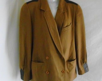 FREE SHIPPING!! Womens GUCCI Wool & Leather 2 Button Double Breasted Jacket Blazer Coat / Small Size 42