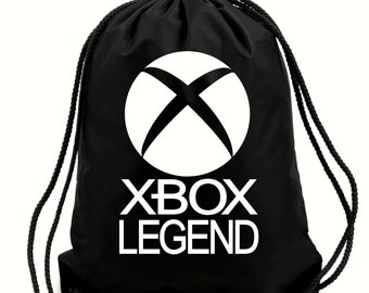 Xbox Legend Gamer Bag,PE bag,school bag,water resistant drawstring bag.Black & White