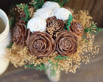 Cedar Pine Rose Bouquet, Sola Flower Bouquet, Rustic Wedding, woodland wedding, pine cone bouquet