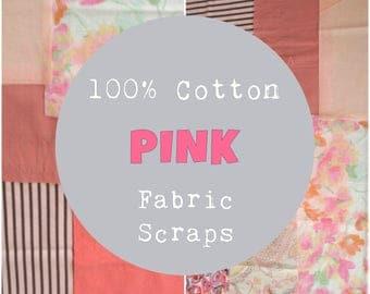 SURPRISE Fabric Scrap Bundle, Shades of Pink, 100% Cotton Fabric, 4 oz, ~1 yard; Cotton Fabric Scraps, Quilting Fabric, Fabric Squares
