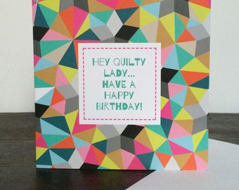 Quilty Lady Birthday Card