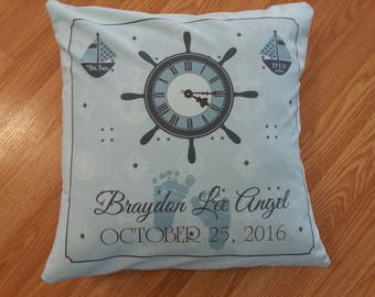 Nautical birth announcement pillow