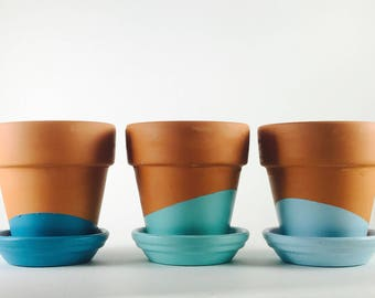 Hand Painted Mini Turquoise Ombre Terracotta Pots / Planter / Succulent Planter / Mother's Day Gift / Centerpiece / Indoor Planter