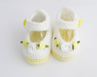 Hand Knitted Baby Girl flower Booties Mary Jane Shoes white and lemon