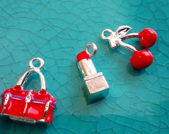 Set of 3D charms bracelet making red purse lipstick and cherries cute girly charms jewelry making