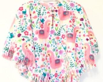 Girl's Fleece Pink Llama Poncho