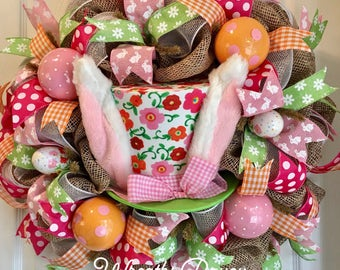 Easter Wreath Bunny Wreath Spring Wreath Easter Wreaths BunnyWreath Deco Mesh Wreath *MADE TO ORDER*