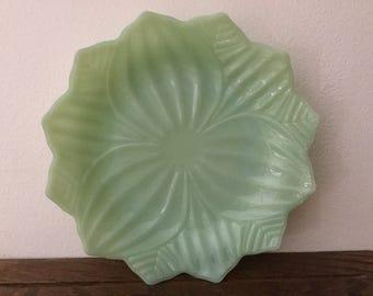JADEITE LOTUS PLATE    Jadeite Serving Dish    Lotus Blossom Dish Fire King