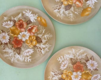 """6 Vintage Plate, Plate Set, Plate, Printed floral plate Israel """"arit"""", authentic, Limited edition, Ready for dinner, 6 Plates, gift from 70s"""