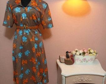 1950 Vintage Dress.50's Dress.Vintage Women's dress.Brown, Blue&Orange Floral Print Vintage Dress For Women 1950s.Size L-XL