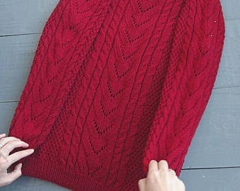 women's sweater, red sweater, pullover, Knitted Jumper, Cable Knit Sweater, Hand knit Sweater, Merino Wool sweater, Womens knit pullover