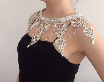 Luxurious Silver Rhinestone Shoulder Jewelry, Gold Shoulder Necklace, Wedding Shoulder Necklace, Bridal Shoulder Jewelry