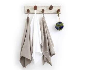 Natural linen kitchen towels set perfect housewarming gift idea