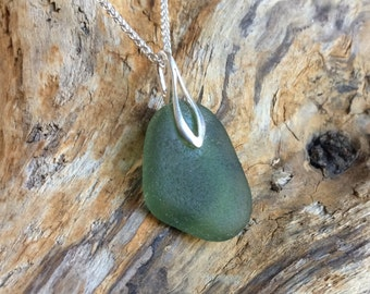 Large Light Green Sea Glass Pendant